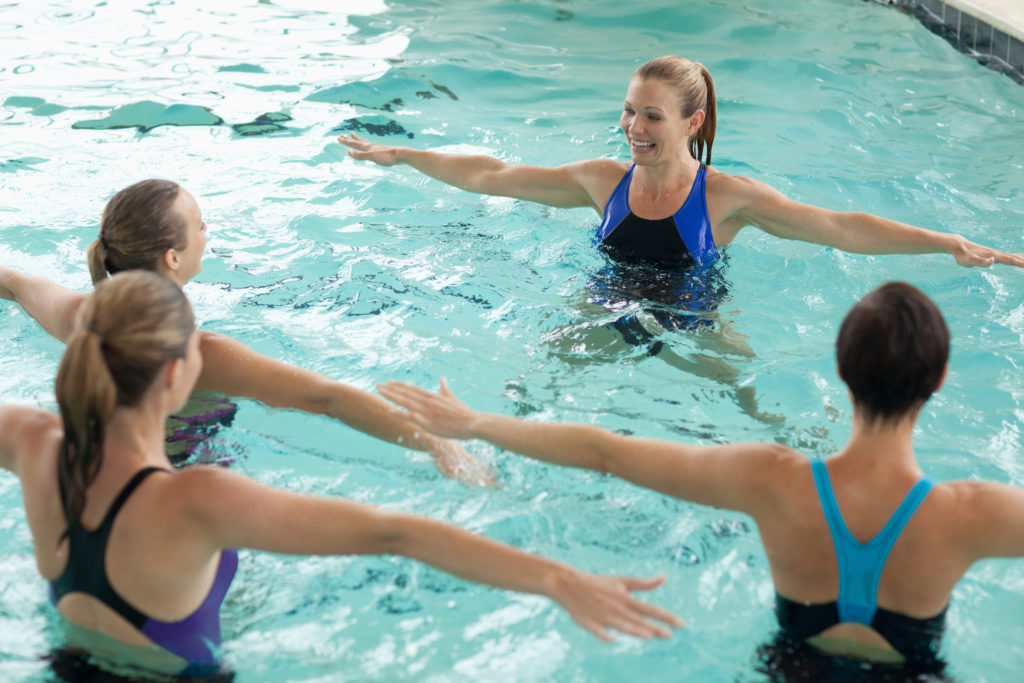 Women taking water aerobics class